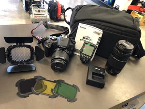 Canon EOS Rebel T7 camera with 18-55 mm Lens 75-300mm Lens godox barndoor and color filters Godox XProC TTL wireless flash battery charger and soft c for Sale in Tacoma, WA