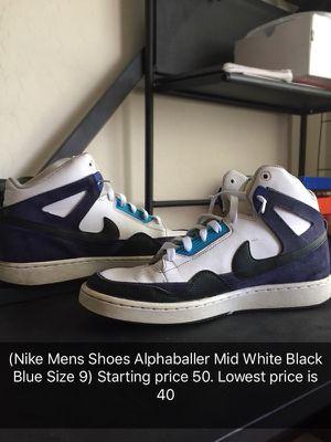 Nike Mens Shoes Alphaballer Mid White Black Blue Size 9 for Sale in Phoenix, AZ