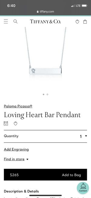 TIFFANY & CO LOVING HEART BAR NECKLACE for Sale in Katy, TX
