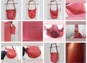 RARE Vintage COACH Duffle SAC HANDBAG PURSE RED Leather Bucket HOBO XL BAG #9085 for Sale in Tacoma, WA