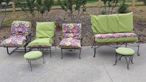 """3 wrought iron chairs and 1 setee with 8"""" cushions for Sale in Mt. Juliet, TN"""