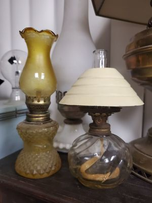 Two very cool tiny vintage oil lamps both for $25 for Sale in Claremont, CA