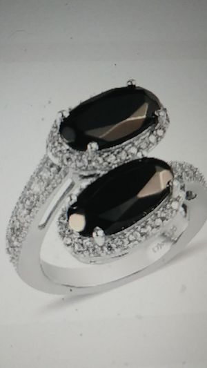 NWT-**COMING SOON**SHUNGITE , NATURAL WHITE ZIRCON BYPASS RING AND PLATINUM OVER STERLING SILVER. Size 10 for Sale in Palmetto, FL