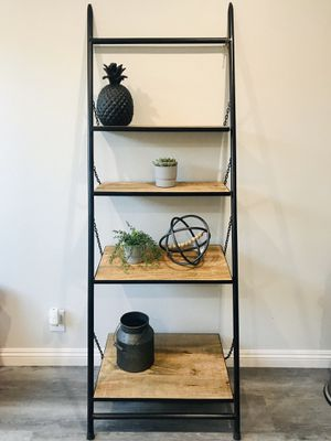 4 tier wall ladder shelf ( black and wood) for Sale in Yorba Linda, CA