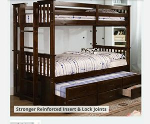 Twin Bunk Bed floor model $300 obo (Mattresses not included.) for Sale in Fontana, CA