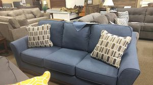 Blue fabric sofa couch with pillows for Sale in Portland, OR