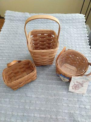 Longaberger set of 3 vintage small baskets for Sale in Menifee, CA