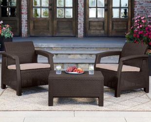 Patio Furniture Balcony Set Outdoor Muebles Balcon Terraza Jardin Rattan Like Keter Resin 2 Chairs and Coffee Table with Cushions Cojines for Sale in Miami,  FL