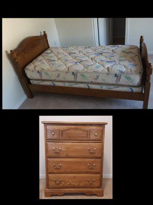 Oak Twin Bed,Mattress, Dresser for Sale in Plainville, CT