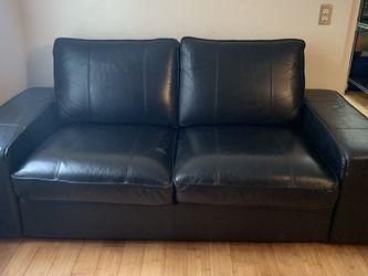 IKEA Black Leather Loveseat for Sale in San Francisco,  CA
