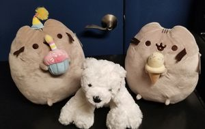 3 GUND STUFFED TOYS- Pusheen Cat with Ice Cream, Pusheen Cat with Birthday Cake, and White Polar Bear for Sale in Phoenix, AZ