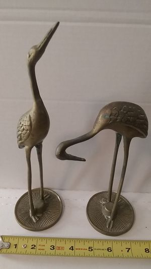Vintage Solid Brass Crane Bird Set Made In Taiwan for Sale in Corpus Christi, TX