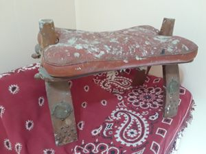 OTTOMAN LEATHER CAMEL SADDLE STOOL ARAB EGYPT 1950s for Sale in Lawton, OK