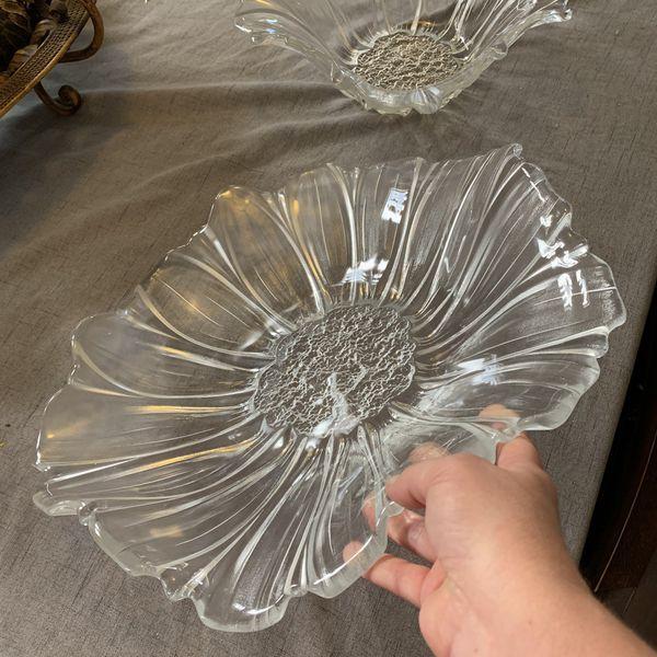 MIKASA SUNFLOWER Crystal Platter and Bowl Set