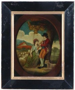 Beautiful antique late 18th century reverse glass hand colored mezzotint for Sale in Lakewood, CO