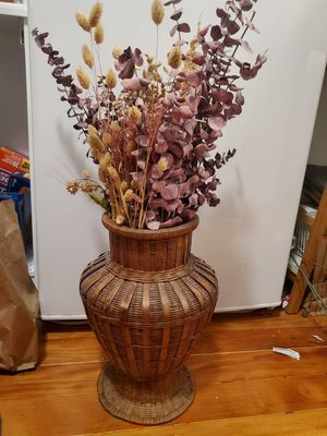 Vintage wicker vase with dried flowers for Sale in Portland, OR