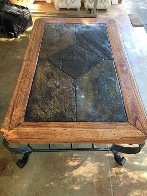 Nice coffee table iron frame wooden and stone top for Sale in Murfreesboro, TN