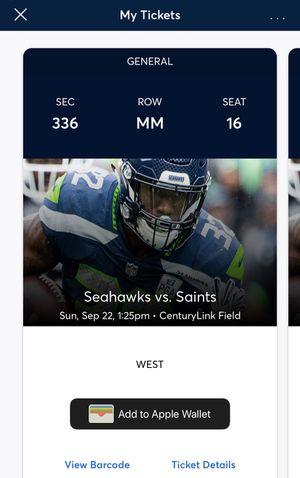 Seahawks tickets vs Saints 3 tickets 9/22 for Sale in Newcastle, WA