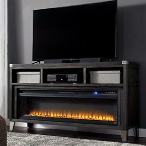 $39 DOWN Todoe Gray LG TV Stand with Infrared Fireplace Insert | W901-68 for Sale in Silver Spring, MD