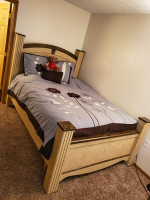 Brown wooden bed frame with Dresser and mirror. for Sale in West Lafayette, IN