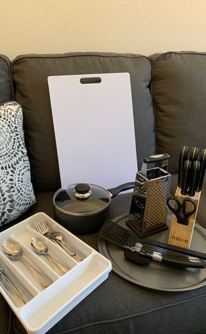 Kitchen equipment - knives set, scissors, pizza pan, spatula, pot, cutting bird, utensils for Sale in San Diego, CA