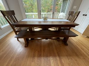 Wooden table with 2 benches and 2 chairs for Sale in West McLean, VA