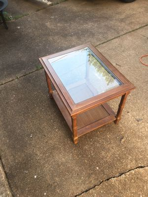Glass top wood end table for Sale in St. Louis, MO