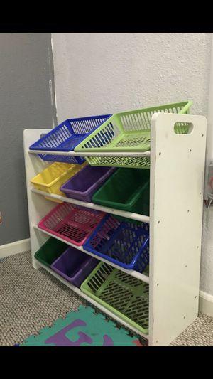 Kids' Toy Storage Organizer with 10 Plastic Bins for Sale in Lynnwood, WA