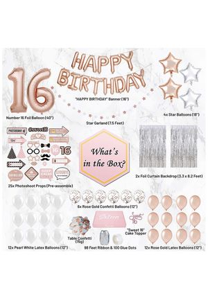Free shipping-Sweet 16 Party Supplies WITH Photo Booth Backdrop and Props –Rose Gold Sweet 16 Decorations – 16th Birthday Party Supplies WITH Happy B for Sale in Cumming, GA