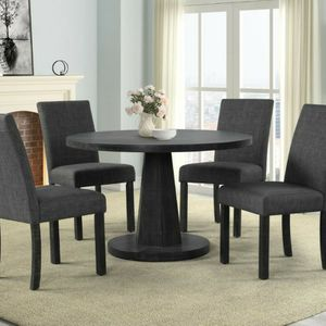 Brand New 5pc Round Charcoal Grey Linen Dinning Set for Sale in Puyallup, WA