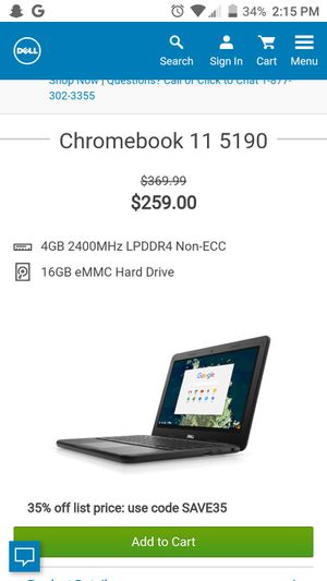 Dell chromebook for Sale in El Cajon, CA