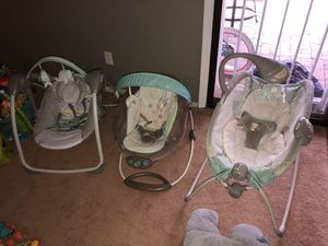 Entire baby set!!! swing bouncer and sleeper for Sale in Denver, CO