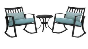 Elegant Metal Rocking Chair Table Patio Furniture Three 3 Piece Set Outdoor Deck Black for Sale in Chicago, IL