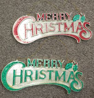 Vintage Glitter Red & Green Merry Christmas Signs $10.00 Each for Sale in Burlington, NC