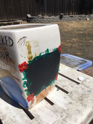 """Local artist selling one of his unique pieces. """"Cracked Biscotti Jar."""" You can write anything on it in chalk. for Sale in Stockton, CA"""