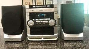 VERY NICE PHILIPS STEREO SYSTEM WITH 3CD PLAYER,DUAL CASSETTE PLAYER,AM FM RADIO AND ORIGINAL SPEAKERS for Sale in Sanford, FL