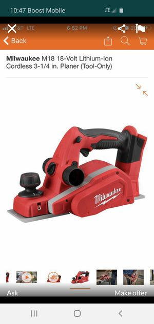milwaukee m18 3/4 planer tool only *NEW IN BOX * for Sale in Huntington Park, CA