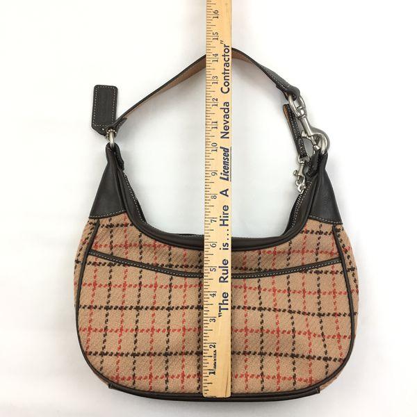 Coach Tattersall Wool Plaid Hobo Bag