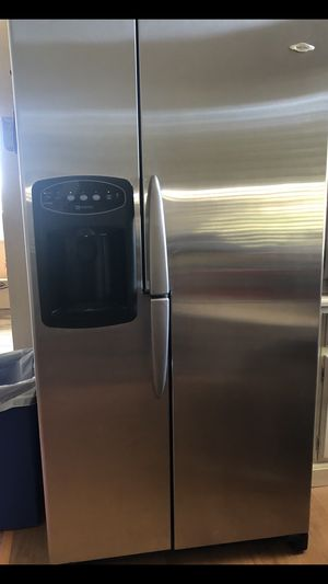 Stainless steel appliance set!!! Maytag side-by-side refrigerator freezer-Amana dishwasher-GE microwave-Frigidaire glass top electric stove for Sale in Alta Loma, CA