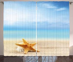 "Curtains 108""W x 84""L Beach Seashells Starfish Print Backdrop 35915 for Sale in Orlando, FL"