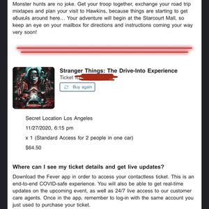 Stranger Things Drive-Into (11/27) for Sale in Los Angeles, CA