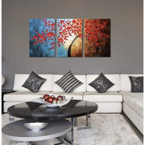 3 piece red flower oil painting for Sale in Denver, CO