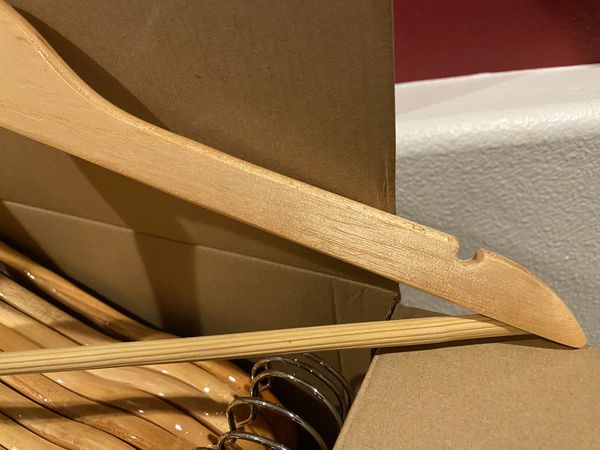 In sealed box 30 pack wooden hangers 360° swivel hook smooth finish(3 boxes $30 each or all $75)