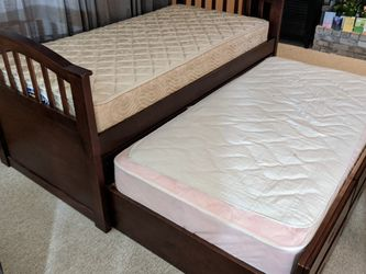 Twin Trundle Bed With 2 Mattresses And Storage for Sale in Vancouver,  WA