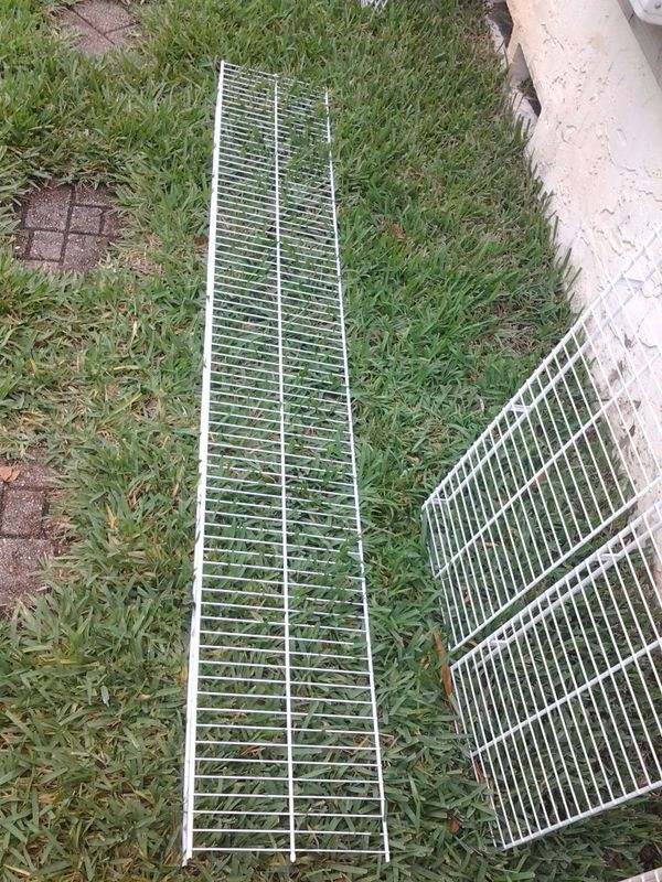 Quantity of x4 metal wire shelf shelves @ 6.5ft long , no mounts, as pictured