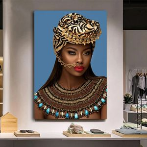 Gold African Nude Woman Indian with Red Lip Canvas Painting Posters and Prints Scandinavian Wall Art Picture for Living Room 35 height 23 widet for Sale in San Jose, CA