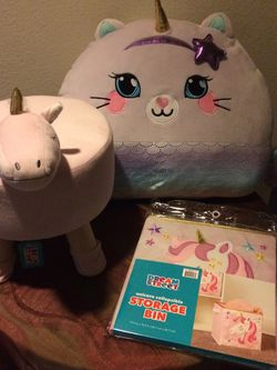 Uber Soft Unicorn Shaped Pillow, Storage Bin And Stool for Sale in Tacoma,  WA