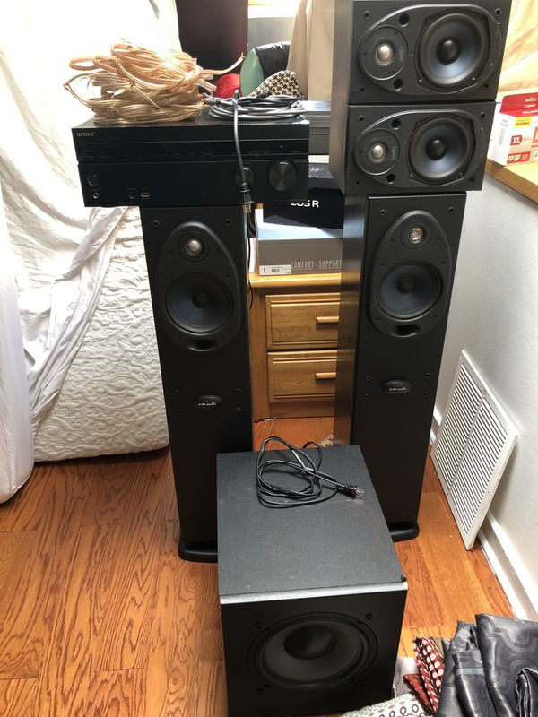 Sony 5.1 Receiver with usb access and remote controller with 2 standing speakers, 2 shelf speakers and 8 inch sub (all speakers are Polk Audio)