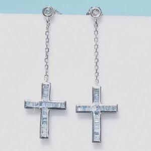 Natural Blue Diamond 0.4ct 10K White Gold Cross Earrings for Sale in Miami, FL