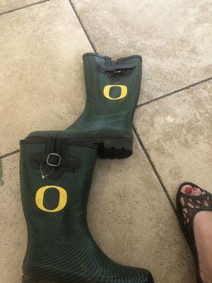 Oregon Ducks rain boots size 9 women's for Sale in Salem, OR